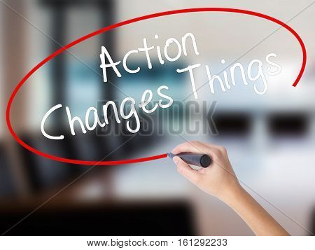 Woman Hand Writing Action Changes Things With A Marker Over Transparent Board