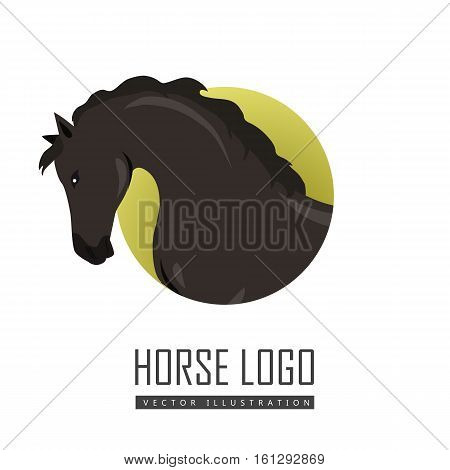Black horse flat style vector logo. Domestic animal. Country inhabitants concept. Illustration for farming, animal husbandry, horse sport companies. Agricultural species. Isolated on white
