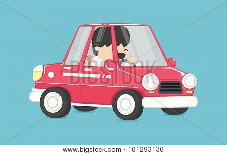 Smiling businessman driving Business man in the car To Work Design Vector Illustration