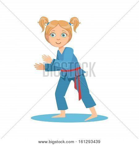 Girl In Blue Kimono Fighting In Sparring On Karate Martial Art Sports Training Cute Smiling Cartoon Character. Part Of Kids Fighters In Traditional Asian Karate Outfit Collection Of Vector Illustrations