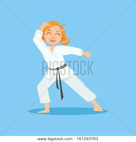 Girl With Ponytails In White Kimono On Karate Martial Art Sports Training Cute Smiling Cartoon Character. Part Of Kids Fighters In Traditional Asian Karate Outfit Collection Of Vector Illustrations