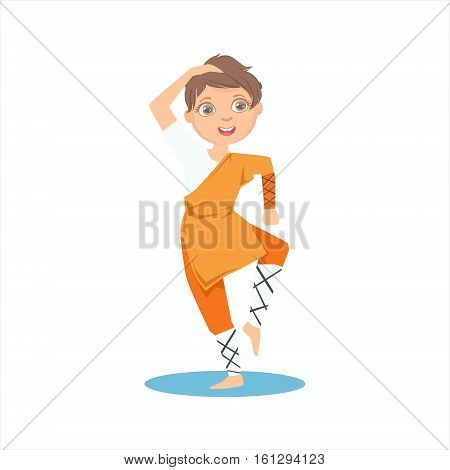 Boy In Shaolin Monk Orange Clothes Demonstrating Starting Stance On Karate Martial Art Sports Training Cute Smiling Cartoon Character. Part Of Kids Fighters In Traditional Asian Karate Outfit Collection Of Vector Illustrations