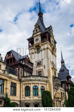 Sinaia Romania - July 5 2016: One of the towers of Peles Castle near Sinaia city