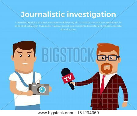 Journalistic investigation concept banner. Flat design. Financial crime, tax evasion, money, laundering, corruption illustration. Set of media workers characters investigator photographer reporter