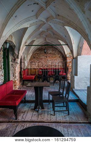 Sibiu Romania - July 7 2016: Small restaurant in old building in Sibiu city