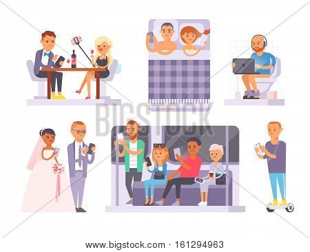 People and gadgets internet technology concept. Vector business person smart phone communication lifestyle. Online network modern connection using tablet or laptop computer.