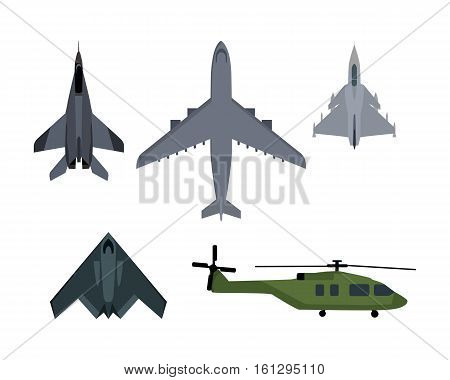 Military aircraft set. Fighter jet, bomber, interceptor, reconnaissance, spy helicopter vector illustrations set isolated on white background. Army flying machine. For military aviation concepts