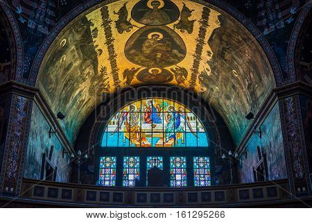 Sibiu Romania - July 7 2016: Interior of Orthodox Holy Trinity Cathedral in Sibiu city