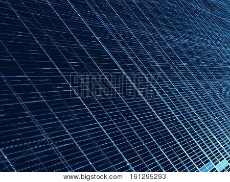 Technology style blue grid - abstract computer-generated image. Fractal geometry: crossing straight lines and cells.