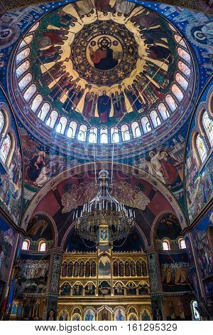 Sibiu Romania - July 7 2016: Iconostasis and dome of Orthodox Holy Trinity Cathedral in Sibiu city