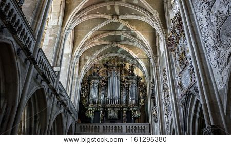 Sibiu Romania - July 7 2016: Organ of Saint Mary Lutheran Cathedral in Sibiu city