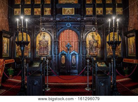 Alba Iulia Romania - July 7 2016: Iconostasis of Coronation Cathedral deticated to Holy Trinity in Citadel of Alba Iulia city
