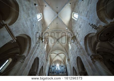 Alba Iulia Romania - July 7 2016: Pipe organ in St. Michael's Cathedral in Citadel of Alba Iulia city