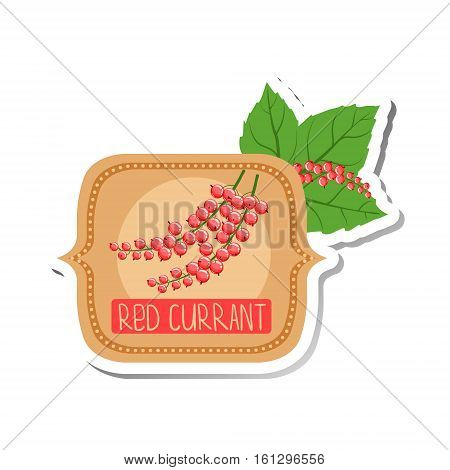Red Currant Bright Color Jam Label Sticker Template In Square FrameHomemade Garden Fruit Sweet Marmalade Vector Logo Isolated Illustration.