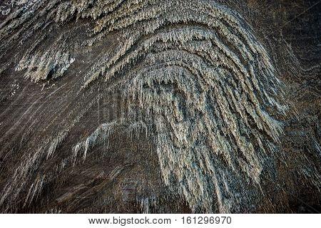 Turda Romania - July 8 2016: Salt on the wall of Salina Turda salt mine in Turda city