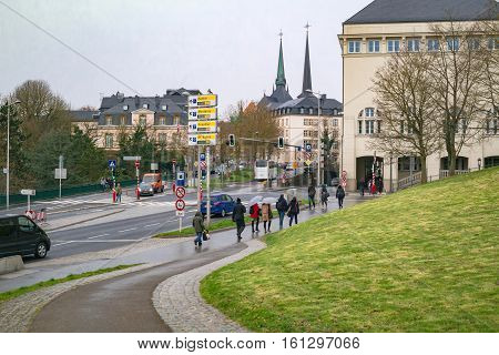 Luxembourg: view on the Boulevard Franklin Delano Roosevelt of the judiciary city. Luxembourg City, Luxembourg - April 4 2016.