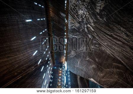Turda Romania - July 8 2016: Rudolf mine in Salina Turda salt mine in Turda city