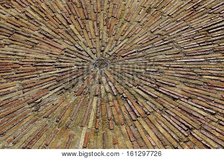 Cobble concentric mosaic. Patterned floor walkway in the park Montjuic Barcelona Spain