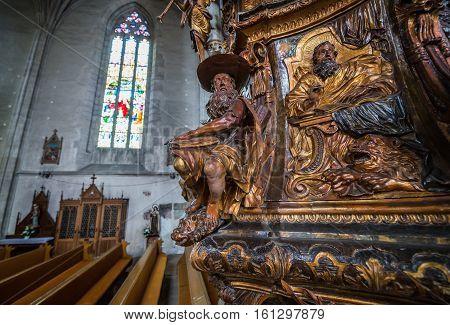 Cluj-Napoca Romania - July 8 2016: Pulpit in St. Michael's Church in Cluj-Napoca city