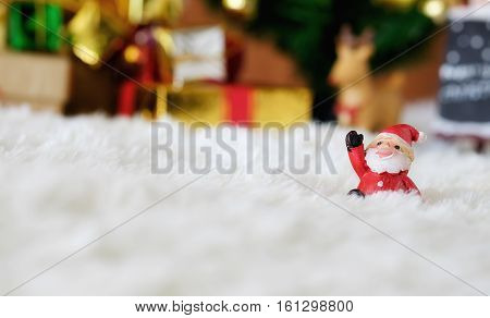 Christmas concept. Christmas Decoration Holiday Decorations on wool Background