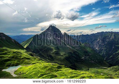 A mountain peak view of Hinterhornbach in the Reutteof theAustrianstate ofTyrol. Dec 2016