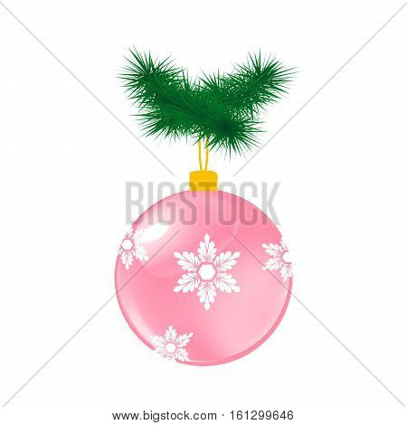 Pink Christmas glass ball with pine. Vector illustration of glass decorative object on white.