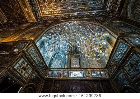Tehran Iran - October 15 2016: Mirror Hall part of Golestan Palace in Tehran capital of Iran