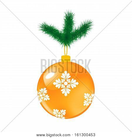 Yellow Christmas glass ball with pine. Vector illustration of glass decorative object on white.