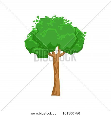 Tall Green Lime Tree Natural Landscape Design Element, Part Of Scenery In Nature Landscaping Constructor. Detailed Cartoon Vector Objects For Land Surface Constructing.