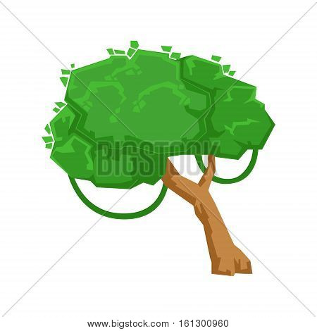 Green Tree With Liana In Tropical Jungle Natural Landscape Design Element, Part Of Scenery In Nature Landscaping Constructor. Detailed Cartoon Vector Objects For Land Surface Constructing.