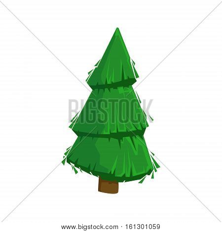 Green Fir Tree Woods Natural Landscape Design Element, Part Of Scenery In Nature Landscaping Constructor. Detailed Cartoon Vector Objects For Land Surface Constructing.