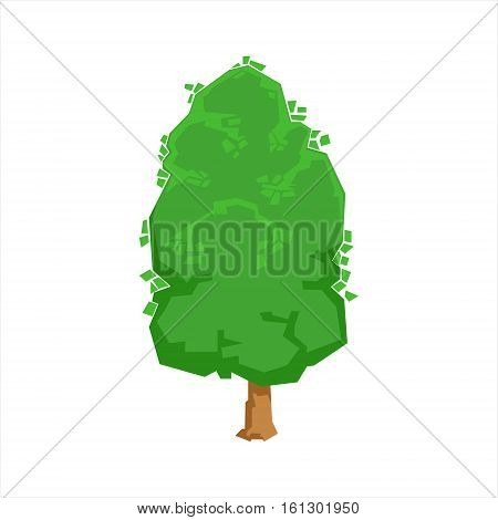 Green Oak Tree Woods Natural Landscape Design Element, Part Of Scenery In Nature Landscaping Constructor. Detailed Cartoon Vector Objects For Land Surface Constructing.