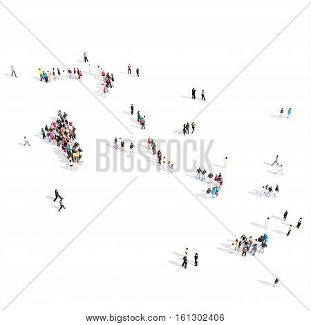 Large and creative group of people gathered together in the form of a map Bahamas. 3D-rendering.
