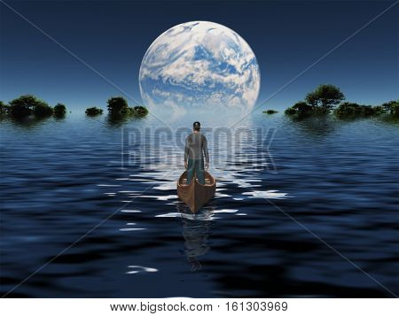 Man in boat with blue Planet on the horizon  3D Render  Some elements provided courtesy of NASA