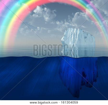 Rainbow over Iceberg in ocean  3D Render