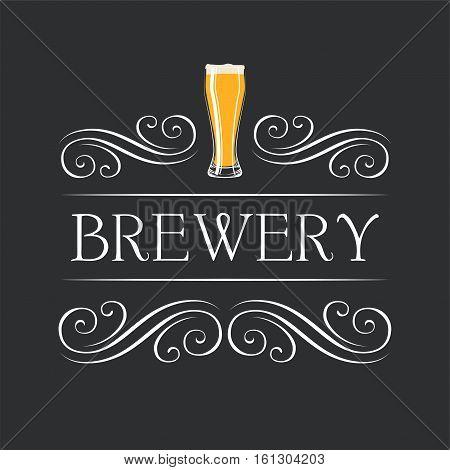 Brewery. Beer glasses. flourish frame vintage element scroll frame. Vector Illustration