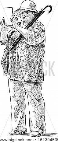 Vector sketch of the elderly woman photographing at leisure.