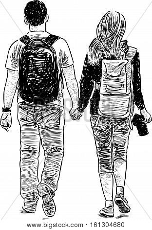 Vector sketch of the students couple on a stroll.