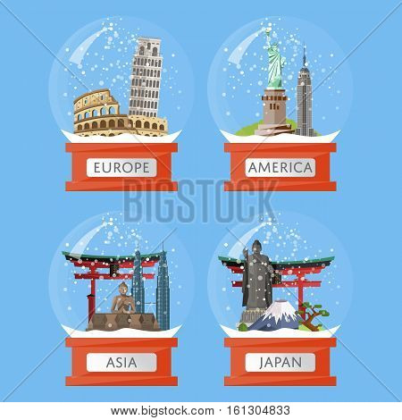 Vector illustration with famous world traditional and modern attractions in snow globe. Christmas gift. Worldwide landmarks in glass bowl. Time to travel. Souvenirs set. Snow crystal ball collection