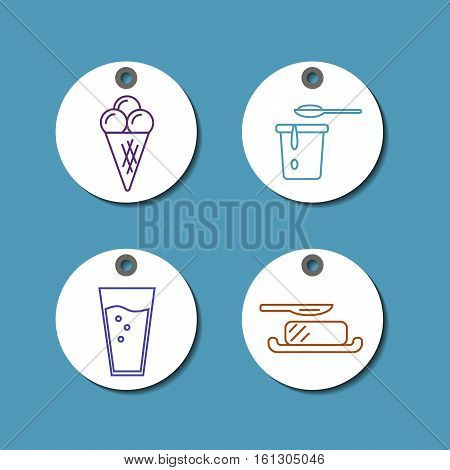 Price tags with dairy products icons in line style design on white background, vector illustration. Natural and healthy food. Traditional farmers products. Organic shop round labels.
