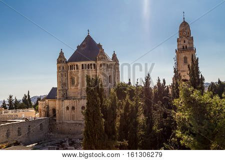 View of Dormition Abbey outside the walls of the Old City of Jerusalem Israel