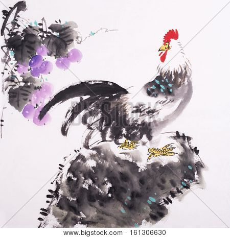 Traditional China Rooster with Grape,mean good luck.