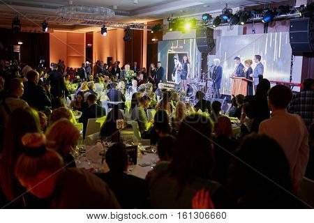 MOSCOW, RUSSIA - JUN 06, 2016: Diana Arbenina receives award Fashion Rock at the ceremony of awarding Fashion People Awards in hotel DoubleTree by Hilton Moscow - Marina.
