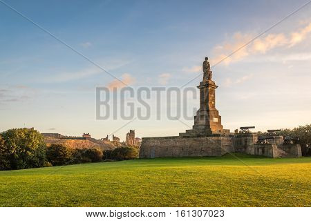 Tynemouth Priory and Collingwood Monument, which overlooks the mouth of the River Tyne at Tynemouth, and is a fitting memorial to Admiral Lord Collingwood. The four guns upon this monument belonged to his ship the Royal Sovereign
