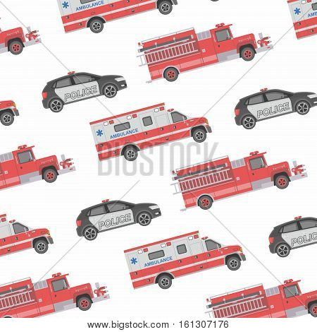 Seamless pattern of the fire engine, ambulance and police