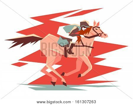 Equestrian horse racing. Rider on stallion quickly jumps. Vector illustration