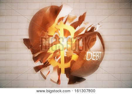 Debt concept. Exploding wrecking ball with golden dollar sign inside on brick background. 3D Rendering