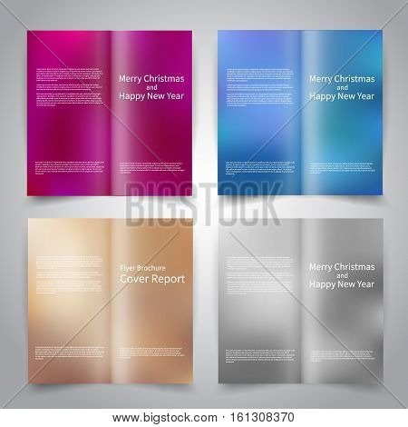 Brochure design templates set with abstract colorful backgrounds. Purple, blue, bronze, silver colors. Merry Christmas and Happy New Year vector brochure mockup EPS10
