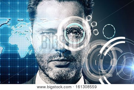 Portrait of male with abstract digital pattern on eye. Security scanning concept
