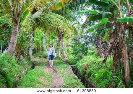 European Tourist Walking Near The Rice Fields